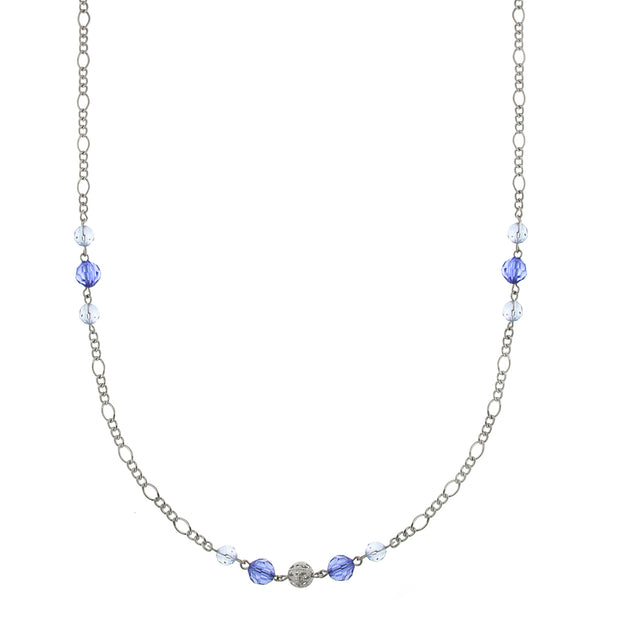 Silver-Tone Blue Crystal And Filigree Bead Slim Long Necklace 42 In
