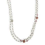 Silver-Tone Purple Crystal And Filigree Bead Long Necklace 42 In