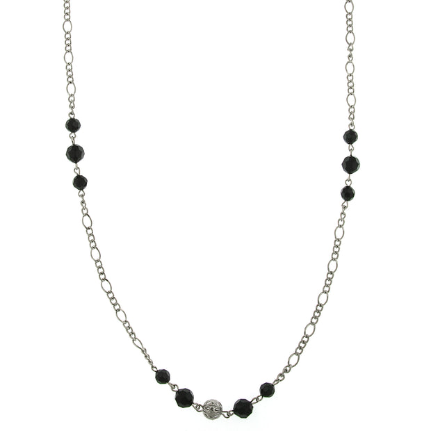 Silver-Tone Black Crystal And Filigree Slim Long Necklace 42 In