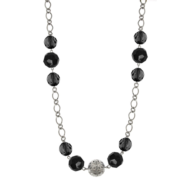 Silver-Tone Jet Long Necklace 44 In