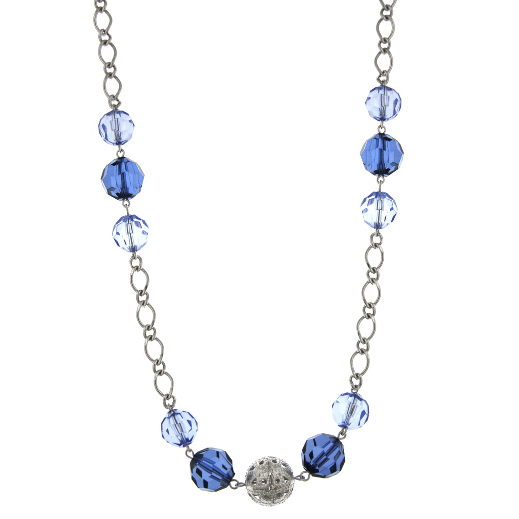 Silver-Tone Blue Beaded Long Necklace