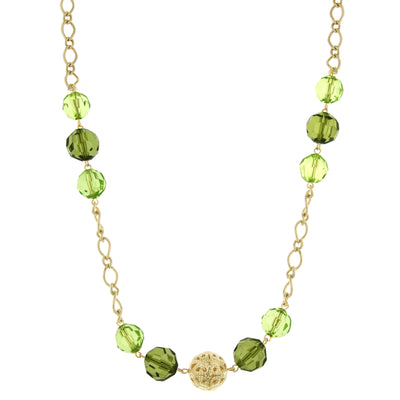 Gold Tone Green Long Necklace 44 In