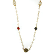 Gold Tone  Costume Pearl W/ Siam Red, Jet, Tanzanite, Topaz Accent Necklace 42 In