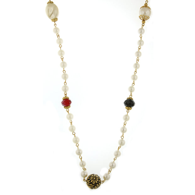 Gold-Tone  Costume Pearl w/ Siam Red, Jet, Tanzanite, Topaz Accent Necklace 42 In