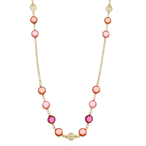 Gold-Tone Coral Tone Long Strand Necklace 42 In