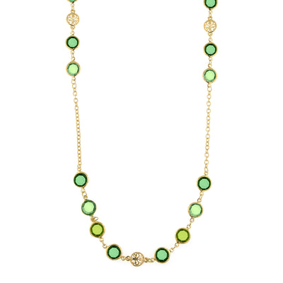 Gold-Tone Green Long Strand Necklace 42 In