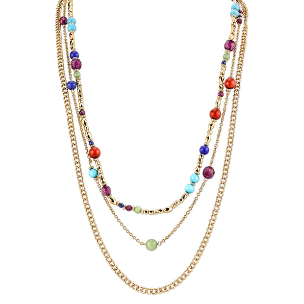 Gold Tone Multi Color Chain Strand Necklace 30 In