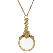 Magnifying Glass With Flower Accents Necklace 30 In