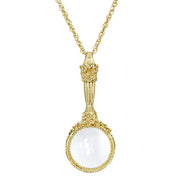 Gold Tone Magnifying Glass Pendant Necklace 30 In