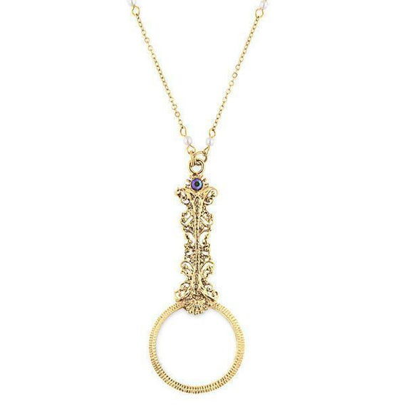 Gold-Tone Magnifying Glass with Crystal AB Accents Necklace 28