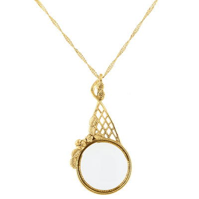 Gold Tone Filigree Magnifying Glass Necklace 28 In