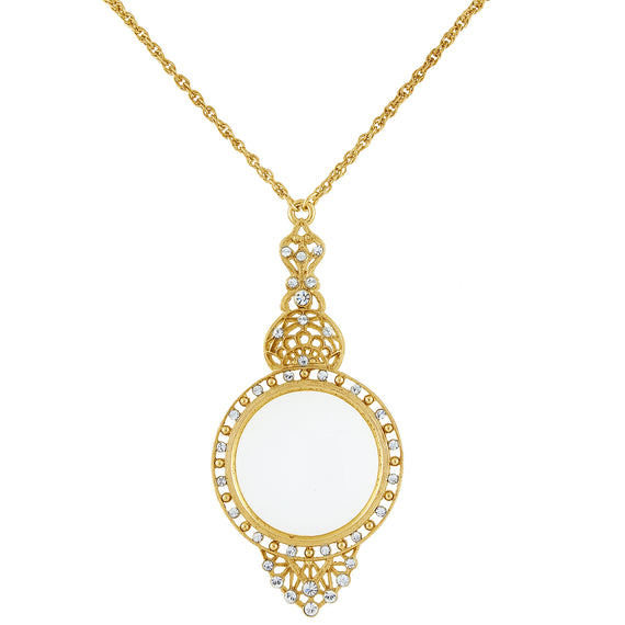 Gold Tone and Crystal Filigree 3.5x Magnifying Glass Necklace