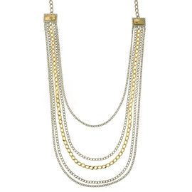 1928 Jewelry: Alex Nicole - 14K Gold Dipped Two-Tone Draped Chain Necklace