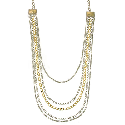Silver and Gold Tone Draped Chain Necklace 26in