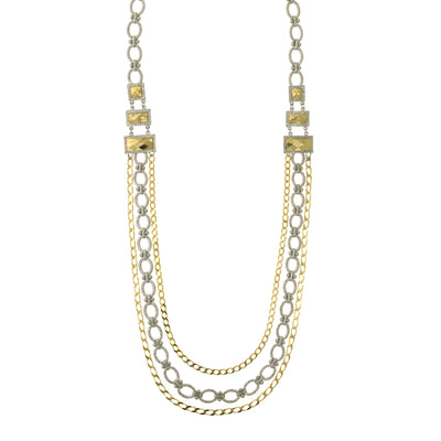 Silver And Gold Tone Bold Chain Draped Necklace 34