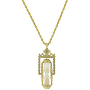 Gold-Tone Hourglass Pendant Necklace 30 In