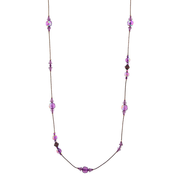 Fashion Jewelry - 2028 Illuminations Burnished Copper Amethyst Purple AB Long Beaded Necklace