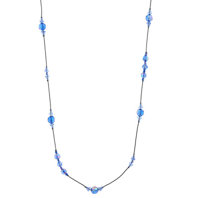 Jet Sapphire Blue Ab Long Beaded Necklace 42 In