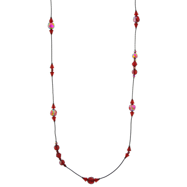 Jet Siam Red AB Long Beaded Necklace 42 In