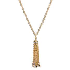 Gold-Tone Crystal and Hematite Color Accent Tassel Necklace 30 In