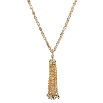 Gold Tone Crystal And Hematite Color Accent Tassel Necklace 30 In