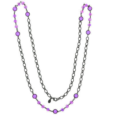 2028 Black-Tone Purple Aurora Borealis Crystal Long Strand Necklace 40""