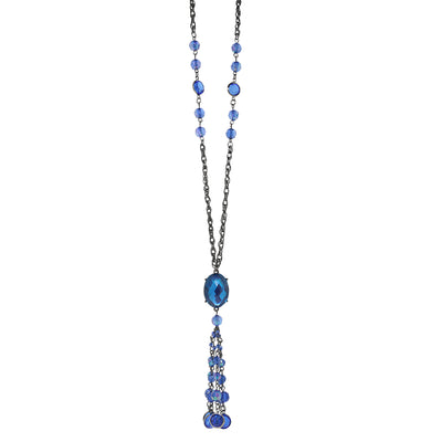 Black-Tone Sapphire Blue AB Tassel Necklace 26 In
