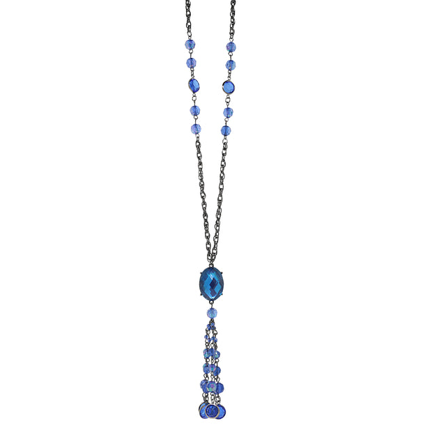 Black Tone Sapphire Blue Ab Tassel Necklace 26 In