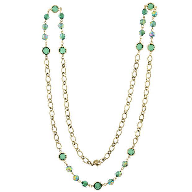 Gold-Tone Emerald Green AB Long Strand Necklace 40