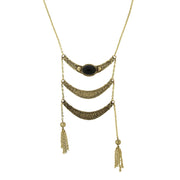Gold Tone Jet Ladder Necklace 28 In