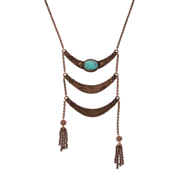 Fashion Jewelry - 2028 Copper Tone Imitation Turquoise Ladder Statement Necklace