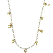 Silver Tone And Gold Tone Single Strand Charm Necklace 42 In