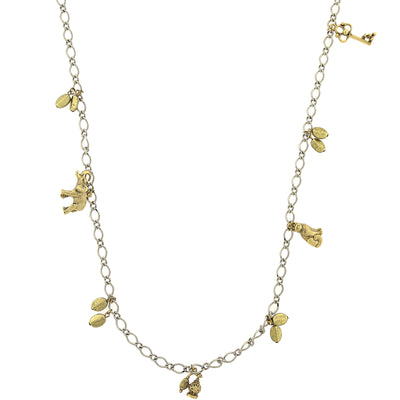 Silver-Tone And Gold-Tone Single Strand Charm Necklace 42 In