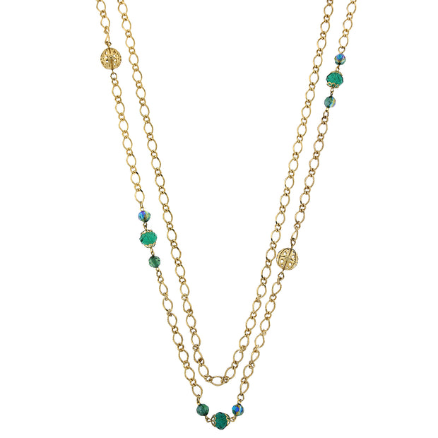 Gold Tone Green Ab Long Necklace 42 In