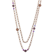 Antiqued Copper Amethyst Ab Long Necklace 42 In