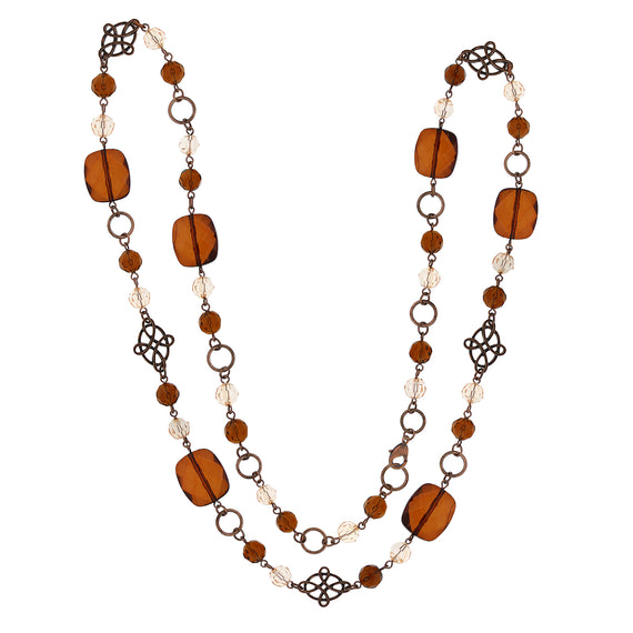 Fashion Jewelry - 2028 Copper-Tone Brown Multi-Beaded Long Necklace
