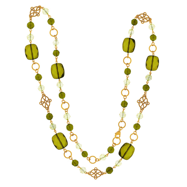 Gold Tone Green Long Necklace 42 In