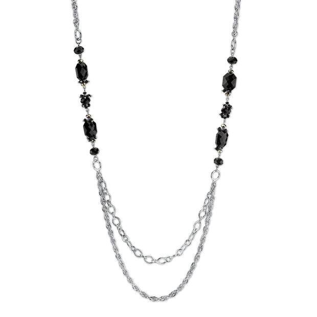 Silver-Tone Black Long Necklace 40 In