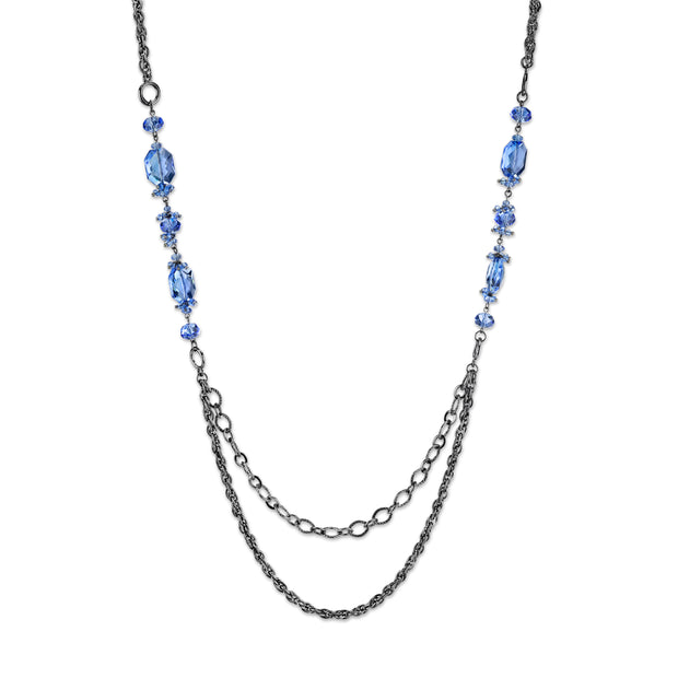 Black-Tone Sapphire Blue Color Long Necklace 40 In