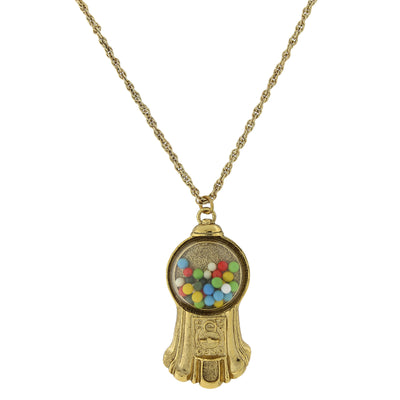 Gold Tone Multi Color Gumball Machine Pendant Necklace 30 In