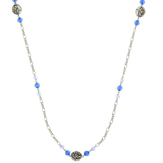 Silver-Tone Blue Beaded Flower Necklace 42 In