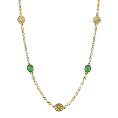 Gold-Tone Green Single Strand Necklace 42 In