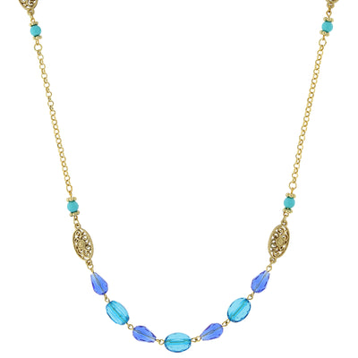 Gold Tone Mixed Blue Long Strand Necklace 40 In