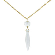 Gold-Tone Clear Crystal Icicle Necklace 30 In