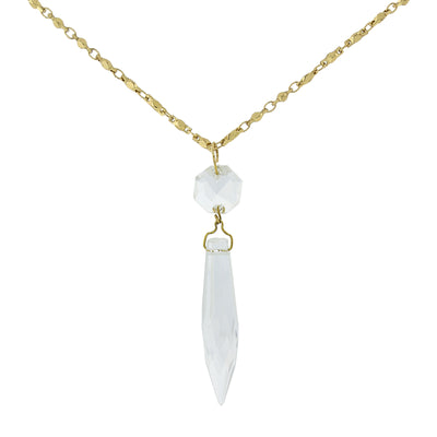 Gold Tone Clear Crystal Icicle Necklace 30 In