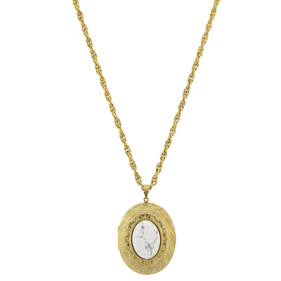 Gold-Tone Gemstone White Howlite Locket Necklace 25 In Adj