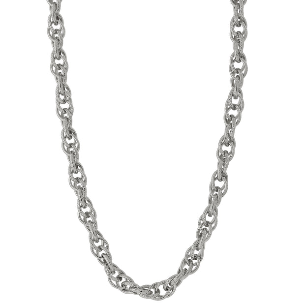 Silver Tone Chain Link Necklace 30""