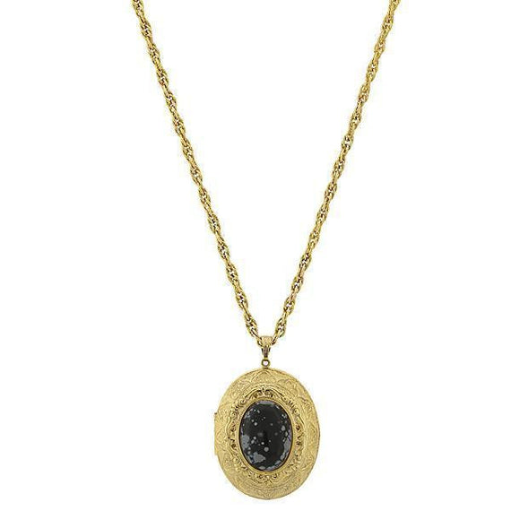 Gold-Tone Semi-Precious Snowflake Obsidian Locket Necklace 25 Adj.