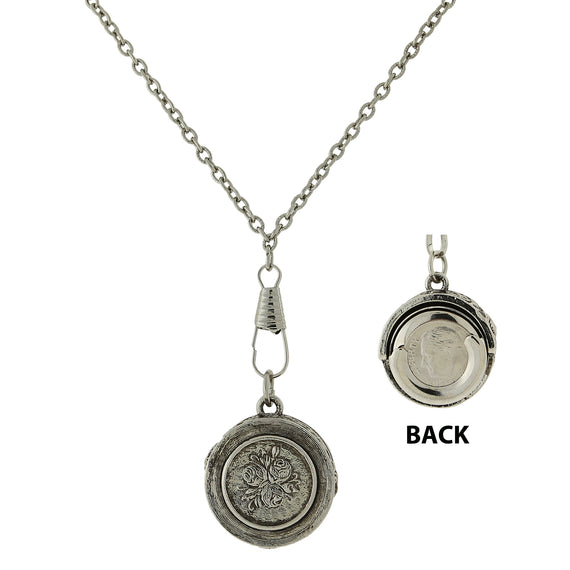 Silver tone pendant dime holder necklace aloadofball Gallery