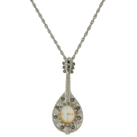 Silver tone pendant watch necklace 1928 jewelry 1928 jewelry silver tone mandolin watch pendant necklace aloadofball Gallery